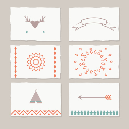 sacral: ethnic cards with tribal motifs, vector tag cards