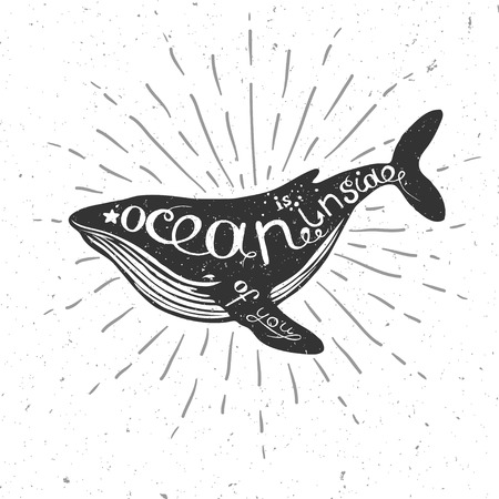 vector illustration with whale, nautical illustration with hand drawn lettering, vector whale silhouette Stock Photo
