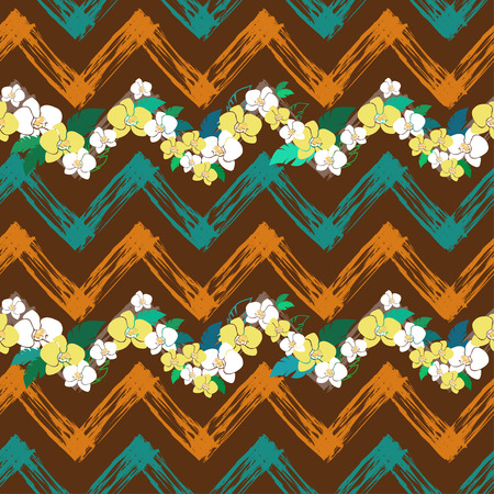 smeared: tropical pattern with zigzag lines, vector seamless pattern