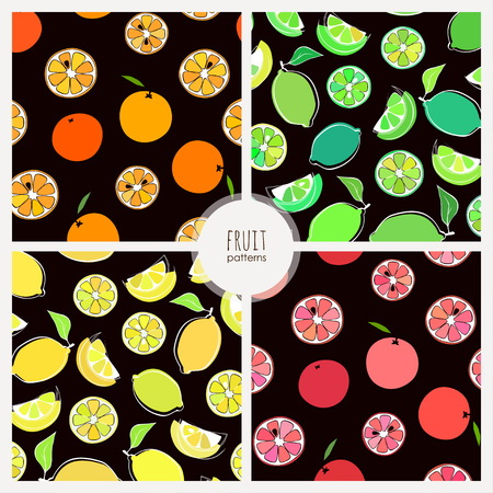 citrus fruits: four vector seamless patterns with citrus fruits