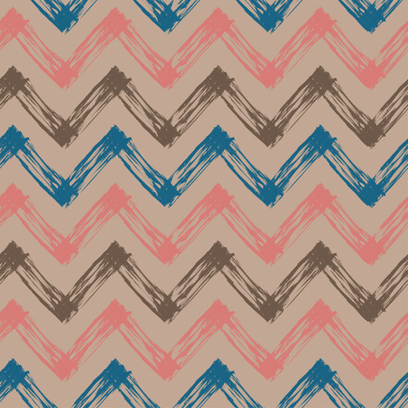 slovenly: zig zag pattern, vector abstract seamless pattern with colorful lines Stock Photo