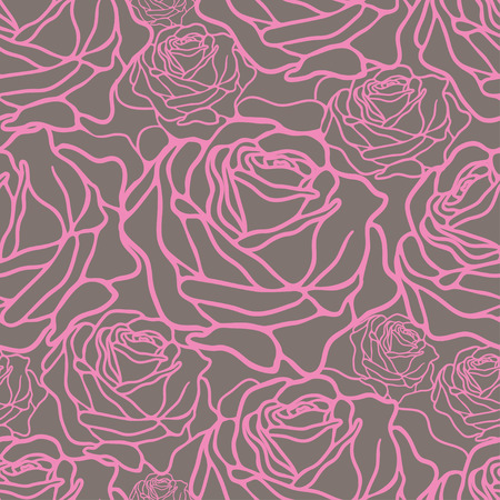 grey: vector seamless pattern with pink roses on grey background
