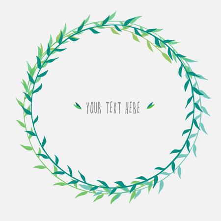 coronal: vector green floral wreath, round laurel wreath