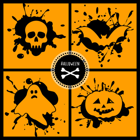 holyday: vector halloween set with main symbols of the holyday