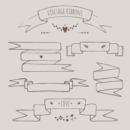 slovenly: vector set of vintage styled hand drawn decorative ribbons