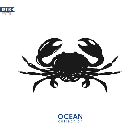 oceanic: vector oceanic crab silhouette isolated on white