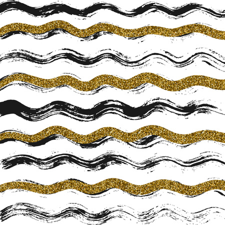 abstract vector texture with black and gold waves Illustration
