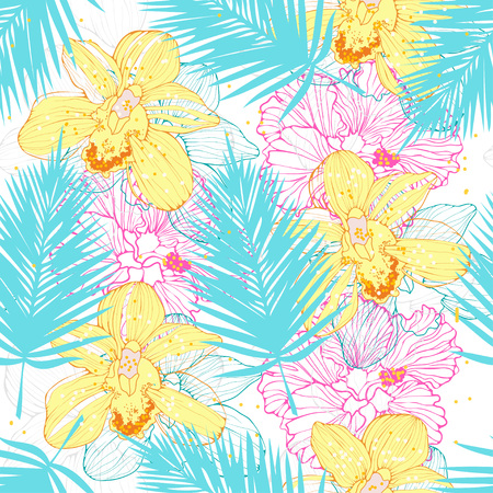luau party: hawaiian pattern with orchids and palm leaves, vector seamless tropical pattern