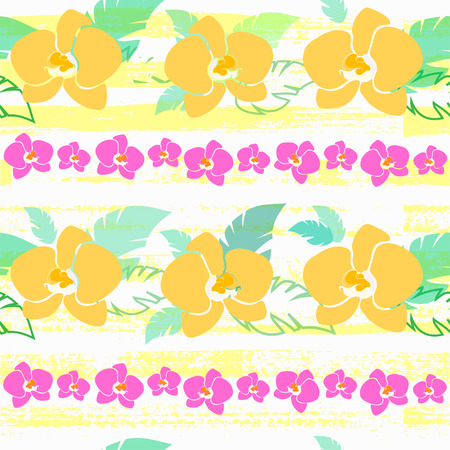 luau party: bright floral pattern, vector seamless pattern with yellow orchids, tropical wrapping paper, bright summer design