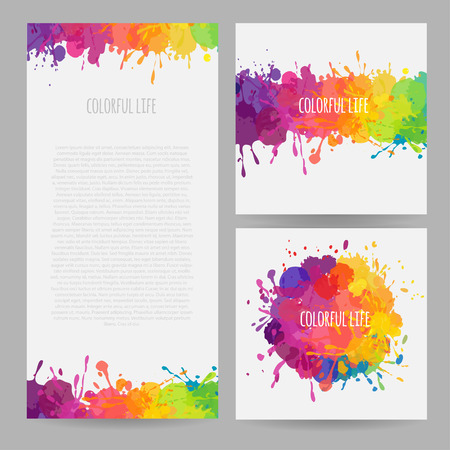 colofrul: vector set of colofrul banners with stains and splatters