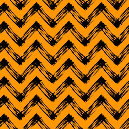 slovenly: vector seamless pattern with zigzag lines, black and orange halloween pattern Illustration