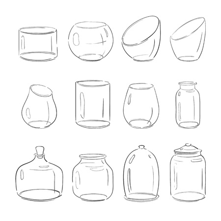 Vector Empty Vases Jars Bottles And Aquariums Isolated On White