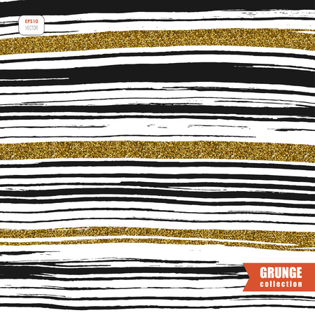 abstract background with messy black and gold lines Ilustrace