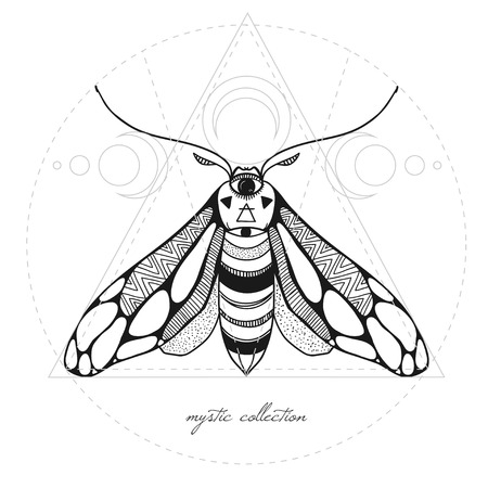sullen: mystic illustration with moth and sacred geometry, vector illustration with butterfly isolated on white