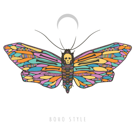 beautiful colorful butterfly, mystic deadhead moth, vector illustration isolated on white