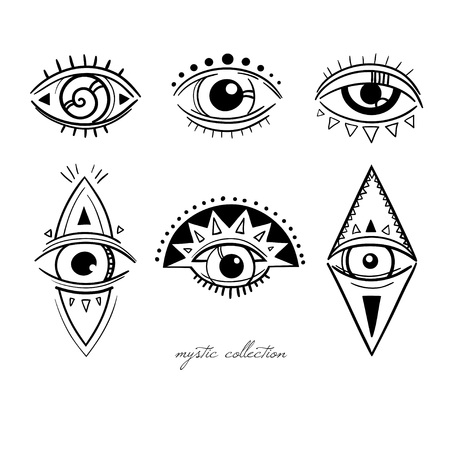 esoteric symbols with eyes, vector mysterious signs with eyes, vector illustration, boho style decorative elements isolated on white Illusztráció
