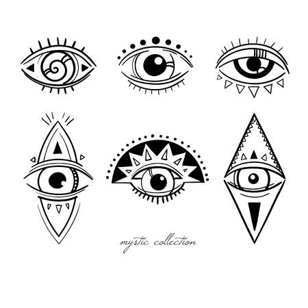 esoterische symbolen met de ogen, vector mysterieuze borden met de ogen, vector illustratie, boho stijl decoratieve elementen op wit wordt geïsoleerd