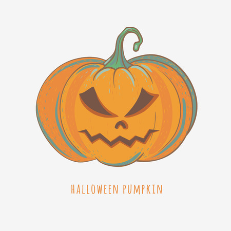 angry halloween pumpkin, hand drawn vector illustration isolated on white, carved halloween pumpkin with angry face Illustration