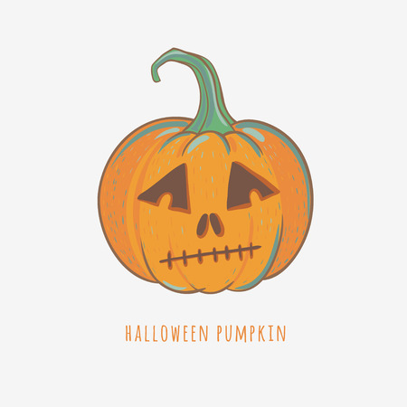 sad halloween pumpkin, carved pumpkin for Halloween decoration, vector illustration isolated on white
