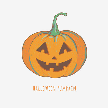 funny halloween pumpkin, vector illustration with carved halloween pumpkin isolated on white Illustration