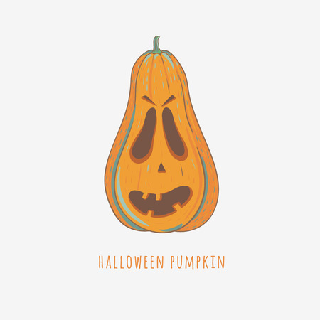 halloween illustration with decorative carved pumpkin isolated on white, vector illustration