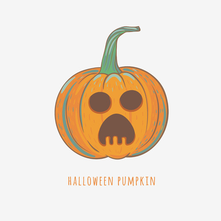 scared halloween pumpkin, vector illustration with carved pumpkin for Halloween decorations, vector pumpkin isolated on white