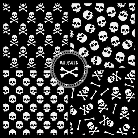 all souls day: set of black and white vector seamless pattern for halloween, four patterns with skulls