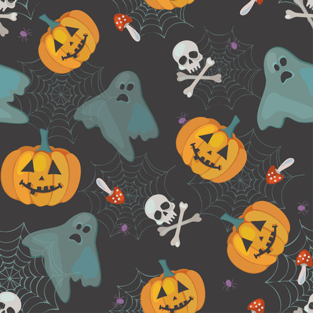 cute pattern for halloween with ghosts, pumpkins and skulls, vector seamless pattern Ilustração