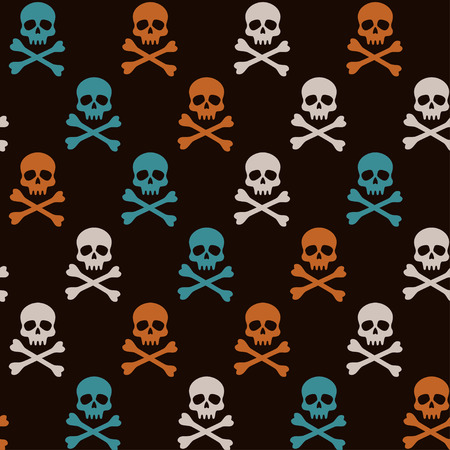 to and fro: vector seamless pattern fro Halloween with orange, white and turquoise skulls Illustration
