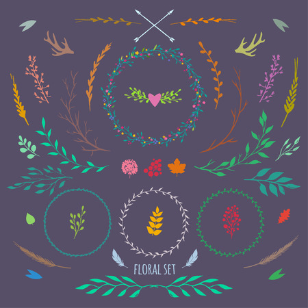 big vector set with different rustic floral elements, boho style