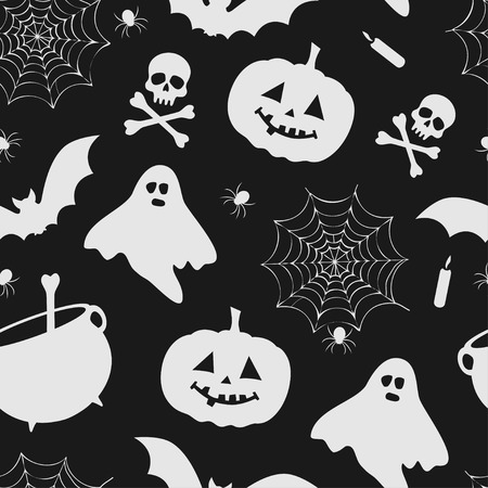 black and white halloween pattern with pumpkins, ghost, kettles and spider nets