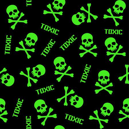 patrones sin fisuras vector negro y verde con calaveras y signos tóxicos
