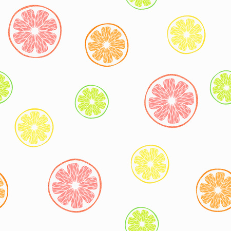 grapefruits: vector seamless pattern with oranges, limes, lemons and grapefruits Illustration