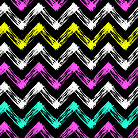 slovenly: bright and colorful vector seamless pattern with zig zag lines Illustration