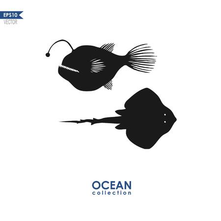 devil ray: devil fish and manta ray isolated on white, vector illustration Illustration