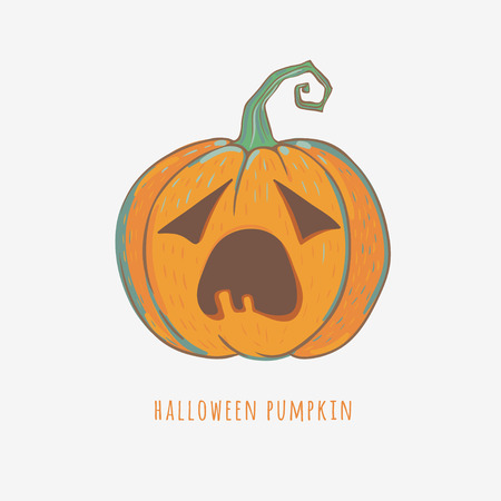 big mouth: funny carved pumpkin isolated on white, vector Halloween illustration, bored pumpkin with big mouth