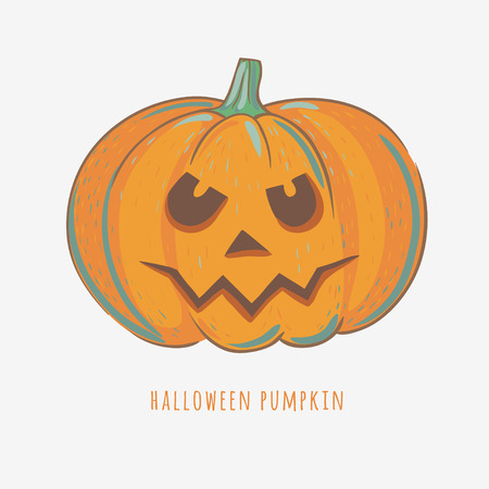 halloween carved pumpkin isolated on white, vector illustration