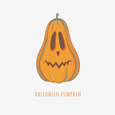 Halloween pumpkin isolated on white, carved pumpkin with funny face, vector halloween illustration