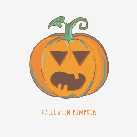 carved halloween pumpkin, angry halloween pumpkin with eyes, mouth and teeth, vector illustration isolated on white
