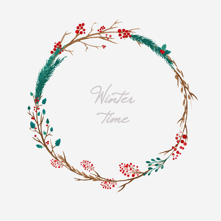 vector watercolor Christmas floral wreath with berries Illustration