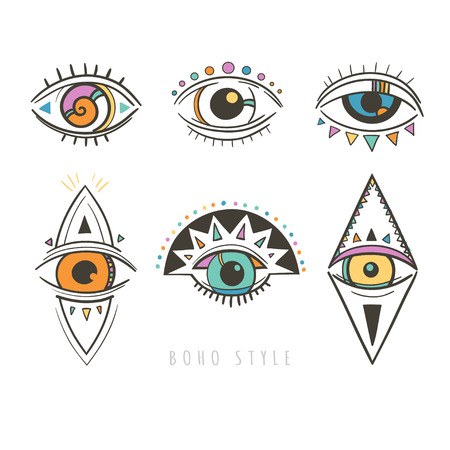 mystic: hand drawn mystic eyes, vector illustration with esoteric symbols with eyes