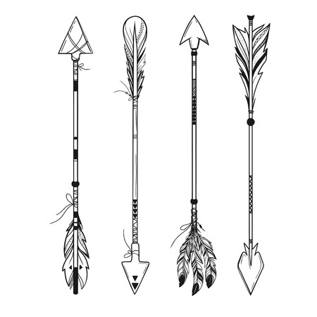 set of boho style arrows with feathers and ornaments isolated on white, vector hand drawn illustration 免版税图像 - 64131799