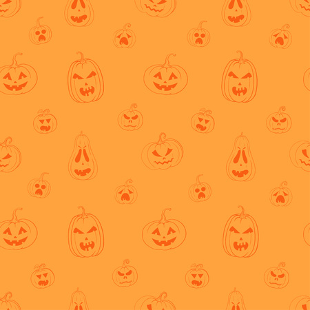 Vector seamless pattern with carved pumpkins on orange background. Bright orange wrapping paper for Halloween. Illustration