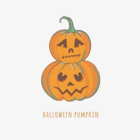 Carved Halloween pumpkins. Vector illustration with hand drawn pumpkins for Halloween.