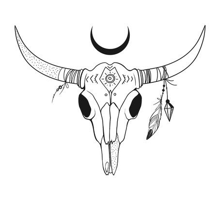 Boho-Artillustration mit Büffelschädel mit Federn auf Hörnern, Hand gezeichnete Vektorillustration mit dem Kuhschädel lokalisiert auf Weiß