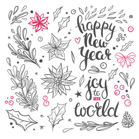 Christmas overlays and clipart. Vector set of seasonal winter greetings and decorative floral elements isolated on white.