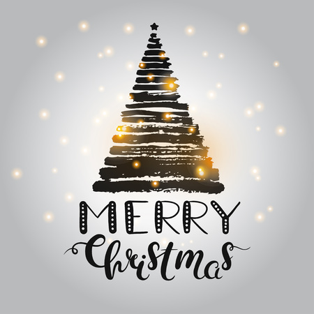 made: Christmas greeting card with hand drawn lettering and grunge Christmas tree made of brush strokes. Black and gold vector Christmas card.