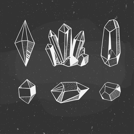 minerals: set of minerals hand drawn on a chalkboard, vector illustration with crystals and minerals