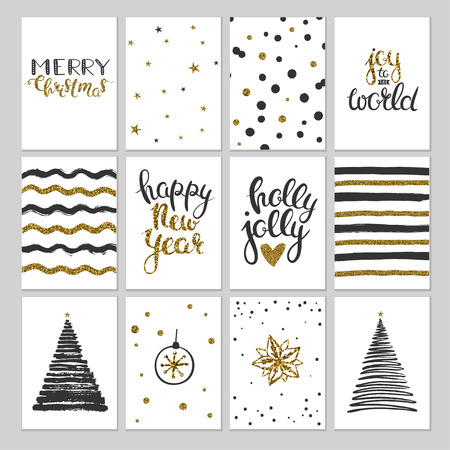 black and gold christmas cards vector gift tags labels and
