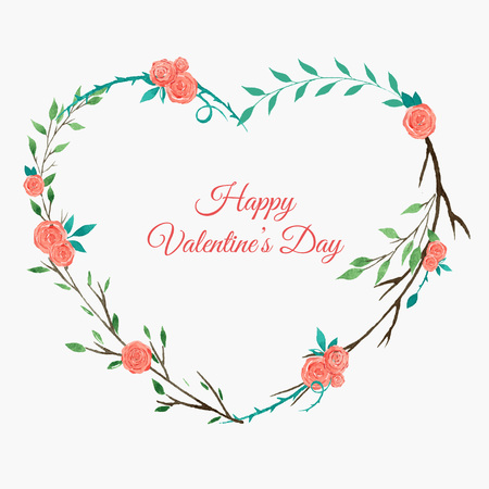coronal: heart shaped floral wreath with roses, watercolor wreath with pink roses, Valentine day card